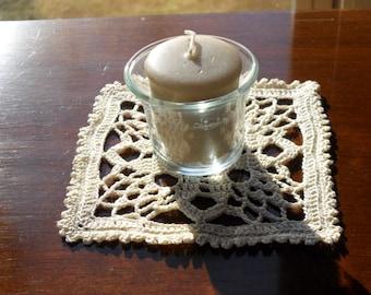 Small Square Cream Colored Croched Doily
