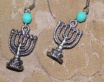 Judaica jewelry, charm earrings, metal earrings, dangle earrings, Menorah Earrings