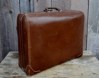 Brown Cowhide Suitcase Vintage Leather Softsided Divided Tripak by Schell Photo Prop Wedding 1940's