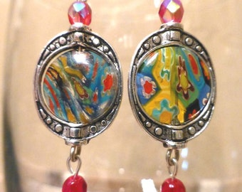 red Milifiori glass earrings