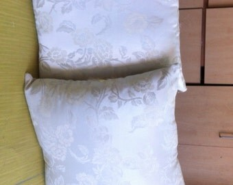 Ivory offwhite Damask Upholstery Throw Pillows Pair With Insert Included