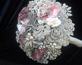 Brooch and Jeweled Wedding Bouquet...Pretty in Pink... Made to Order