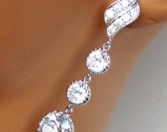 Crystal Wedding Earrings. Rhinestone Bridal Earrings. Bridal Jewelry. Wedding Jewelry. Bridesmaids Jewelry