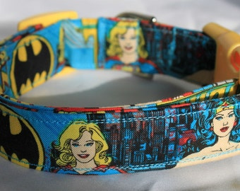 Supergirl, Wonder Woman, Batgirl Turquoise Dog Collar Comic Size XS, S, M or L