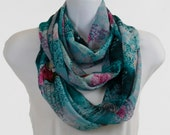 Vintage Look Wide Infinity Scarf - Chiffon Sheer Shades of Teal, Gray with Roses and Script ~ SH183-L1