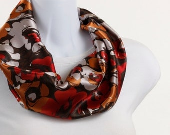 Silky Infinity Scarf Brown Peach  Red Orange ~ SK003-S5