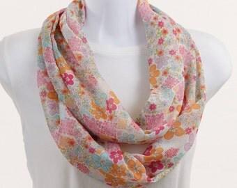Infinity Scarf, Loop, Circle in Soft Pastel Pink, Rose Pink, Orange, Blue Flowers ~ SH042-L1