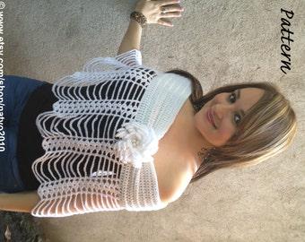 INSTANT DOWNLOAD Easy and Fashion White Crochet Shawl, Bolero, Shrug, Vest with Flower- PDF Pattern