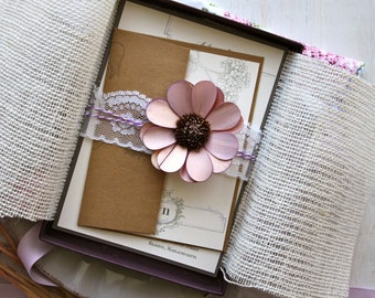 "Lace Boxed Wedding Invitations, Purple, Lavender, Plum Wedding, Rustic Elegance - ""Shabby Chic Boxed"" Deposit - NEW LOWER PRICE!"