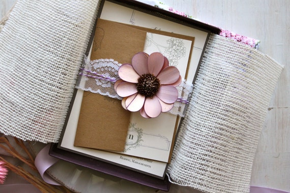 "Burlap and Lace Boxed Wedding Invitations, Rustic Elegant Purple Wedding - ""Shabby Chic Box Invite Sample"" - NEW LOWER PRICE!"