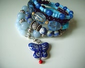 SODALITE, BLUE JADE,  Ceramic Butterfly and Crystal Charms Memory Wire Bracelet