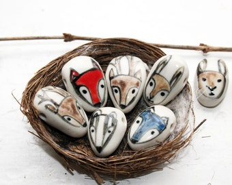 Woodland critter handmade ceramic bead-red fox, blue wolf, stag, hare, owl, ladybird and badger