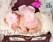 Baby Pink Sequin Vintage Butterfly Wings and Headband Set accented with ostrich feathers Beautiful Photo Prop First Photos