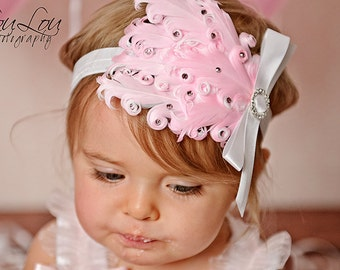 PINK Crystal Feather Pad with White Satin Bow Headband