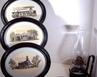 Four Vintage Original Pen and Ink Distressed Framed Art Signed 1940s