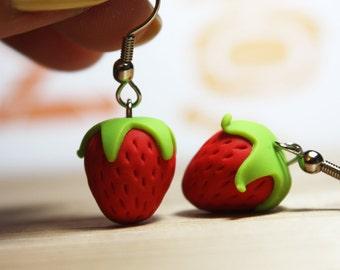 Petite Strawberries - Dangle Earrings