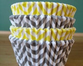 Yellow and Gray Chevron Cupcake Liners - Set of 40 - Chevron Baking Liners