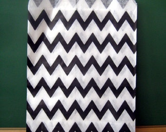 SALE Black Chevron Paper Bags CLEARANCE -Set of 25 Bags- Candy Buffet, Party Favor, Wedding Favor - 5 x 7 Medium Goodie Bags