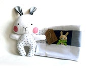 Baby blanket and rag doll bunny rabbit set of two 2 stuffed toy plushie softie soft toy white blue floral gift for Easter