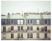 Paris architecture photography, balcony, windows and rooftops - beige, simple wall decor - Parisian