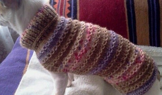 Hand Knitted Patterns For Dog And Cats Coats : 10 hand knitted dog or cat coat /sweater by Lillyloudesigns