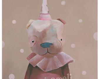 Whimsical animal portrait, circus dog illustration, nursery animal room decor by inameliart