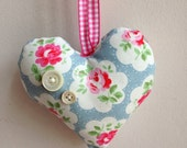 Heavenly  Hanging Heart  Decoration, handmade and gorgeous with Crazy Dazy fabric