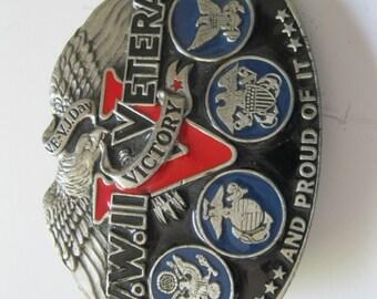 WWII Veteran Belt Buckle Great American Buckle Co. --FL/CT