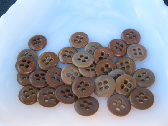 Lot Brown Buttons 4 Holes