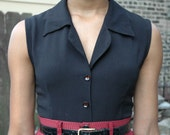 Vintage 1980s Sleeveless Button up Collared Blouse - Black - Size (XS/S)
