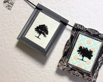 paper garland / bunting / miniature art gallery no. 1 / Skeleton Trees / Autumn