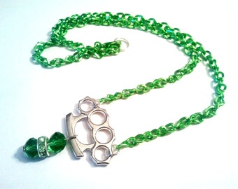 Unique Knuckle Duster and green beads Emo Kawaii link chain necklace Israel Hand made