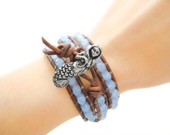 Mermaid Leather Bracelet Pisces Beach Bracelet Friendship Bracelet Beaded Bracelet Leather Wrap Bracelet Boho Ocean Nautical Bracelet Gift