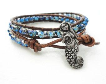 Mermaid Bracelet Beach Bracelet Friendship Bracelet Beaded Bracelet Leather Wrap Bracelet Pisces Boho Ocean Nautical Bracelet Gift for Her
