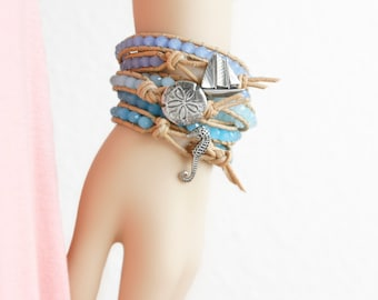 Sailboat Leather Bracelet Beach Bracelet Friendship Bracelet Leather Wrap Bracelet Beaded Bracelet Nautical Bracelet Boho Bracelet Gift Idea