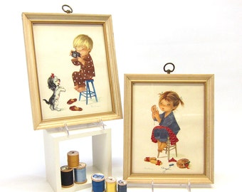 Constanza kids boy and girl pair of vintage framed print with satin stitched details - 1960s - nursery decor - kid's room art