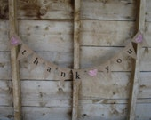 Thank You, lowercase black, lettering, Burlap Banner with pink glitter Hearts