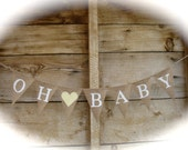 OH BABY burlap banner in white lettering, baby shower banner, photo prop, bunting, sign, neutral gender