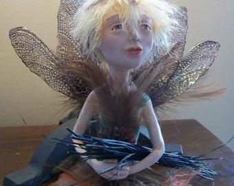 Wren a OOAK Art Doll Paper Clay  IADR No pending