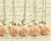 Set of Five - Bridesmaid Blush Rose Necklace - Antique Pink Rose Necklace - Bridesmaid Necklace - Flowergirl Necklace - Blush Wedding