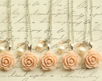Set of Five - Bridesmaid Blush Rose Necklace - Antique Pink Rose Necklace - Bridesmaid Necklace - Flowergirl Necklace - Blush Wedding