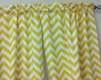 Custom Window Valance 50wx15L Trendy Home Decor in Beautiful Yellow and White Zigzag Chevron