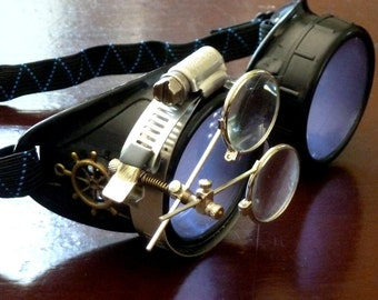Victorian Steampunk goggles aviator victorian welding biker eye cup--rsw lila