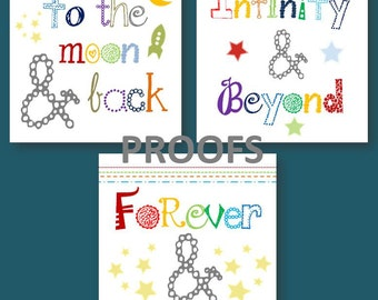 I love you to the Moon and Back Art // Nursery Wall Art // Colorful Nursery Decor // Art for Shared Room // Colorful Art for Kids Room
