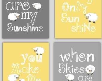 Kids Wall Art // Yellow and Gray Nursery Decor // You are my Sunshine Art with Lamb // Yellow and Grey Nursery Art Prints // 4-8x10 Prints