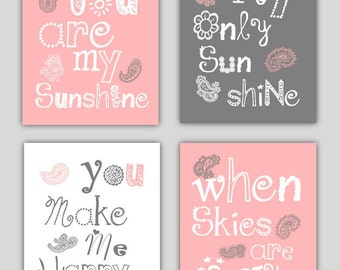 You are my sunshine Pink, gray and White Paisley Art Prints, 4-8x10 prints, Matches Girl Nursery, nursery, or playroom