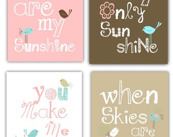 You Are My Sunshine Art // Pink and Brown Nursery Decor // Pink Nursery Art // Pink Art for Girls // Baby Girl Shower Gift // 4-8x10 PRINTS