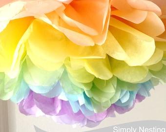 1 Rainbow Tissue Paper Pom Pom, Pastel Rainbow Pom, Tissue Paper Pom Pom, Pastel Rainbow Theme Party