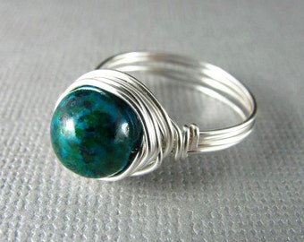 Wire Wrap Ring Green and Blue Australian Jasper Ring Wire Wrapped Jewelry Silver Wire Wrapped Ring Nickel Free Jewelry Jasper Ring