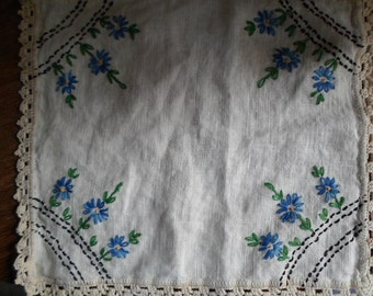Vintage 1950s to 1960s Doily Blue Flowers Embroidered Crocheted Green Black